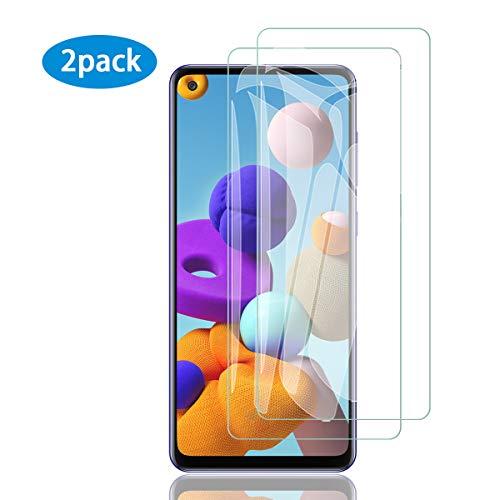 ELYCO [2 Stück] Panzerglas Schutzfolie für Samsung Galaxy A21S, [Blasenfrei] 9H Härte Gehärtetes Glas Panzerglasfolie Anti-Kratzer/Anti-Fall Displayschutzfolie für Samsung Galaxy A21S