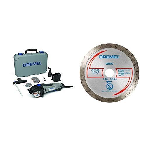 Dremel DSM20-3/4 Kompaktsäge (4x Trennscheibe, Parallelanschlag, Staubsaugeradapter, Werkzeugkoffer, 710 Watt) + Dremel Fliesen-Diamant-Trennscheibe DSM540, 77 mm