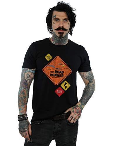Looney Tunes Herren Road Runner Road Sign T-Shirt Schwarz Large