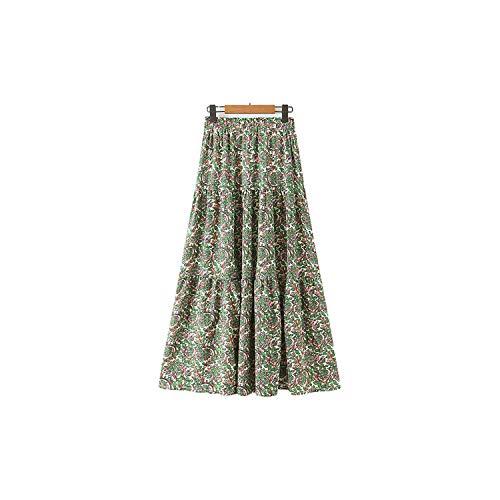 Print Plissé Rok Elastische Taille Pockets Vrouwelijke Casual Enkel Lengte Rokken