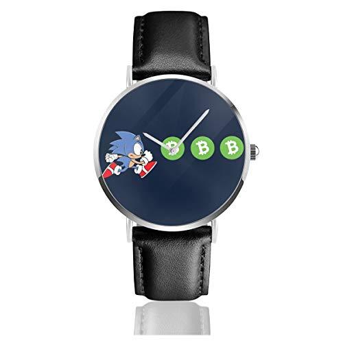 Sonic The Hedeghog Chasing Bitcoin orologi al quarzo orologio in pelle nera...