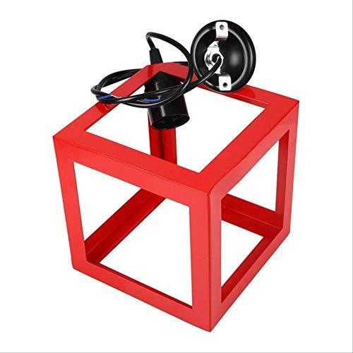 SQWKLuz colgantePantallacuadrada Bombilla E27 Bombilla retro Lámpara de techo Jaula de alambre Cubierta de la lámpara Cortinas de la lámpara Decoración de la lámpara 16x16x16cm Rojo