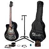 Lindo 933C - Guitarra acústica para zurdos, color negro y accesorios completos...
