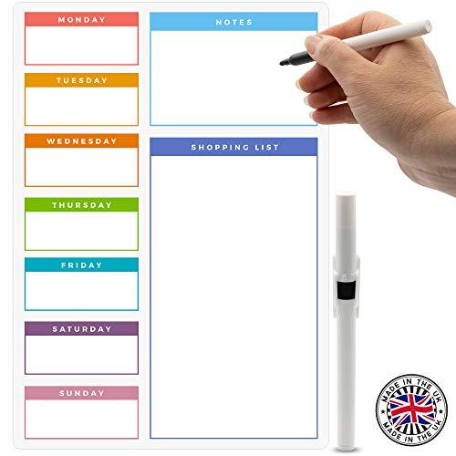 Colore: Bianco Formato A3 Lavagnetta Magnetica cancellabile a Secco promemoria per Cucina o Ufficio CKB ltd/®