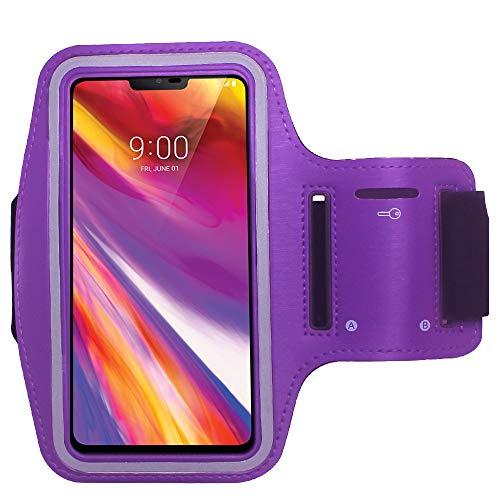 Cbus Wireless Sports Armband Phone Case for Google Pixel 3a XL, LG Stylo 4, V40 ThinQ, Moto G7 Power, E5 Plus, Samsung Galaxy Note 8/9, T-Mobile Revvl 2 Plus, Xiaomi Mi A2, ZenFone AR, 5Q (Purple)