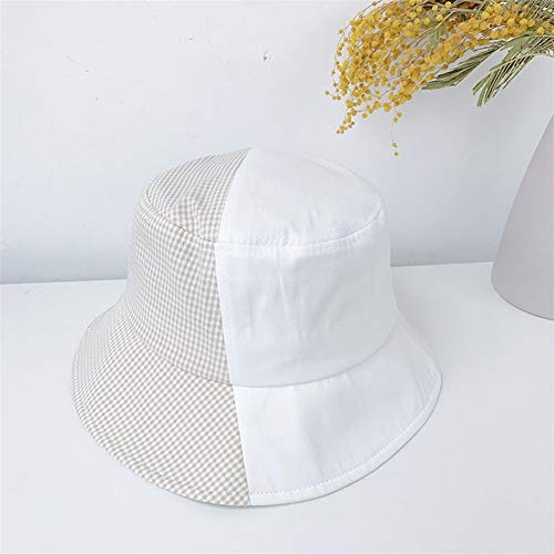 JINRONG Lavabo De Marea Sombrero De Tela Escocesa del Verano Rueca Red De Costura Gorro Japonés Coreano Cap Gaga Sombrero De Sol De Moda (Color : Milk White, Size : One Size)