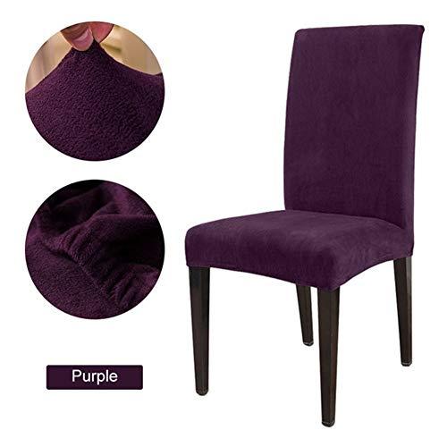 FYZS 1/2/4 / 6pcs amovible extensible Chaise Solide Couleur Covers Tissu Pile souple Fox salle à manger Chambre siège FAUTEUIL Couvre 15 couleurs (Color : Plum, Specification : 1pc)