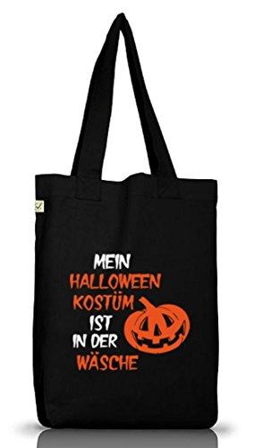 Shirtstreet24, Halloween - Mein Halloween Kostüm..., Kürbis Jutebeutel Stoff Tasche Earth Positive, Größe: onesize,Black