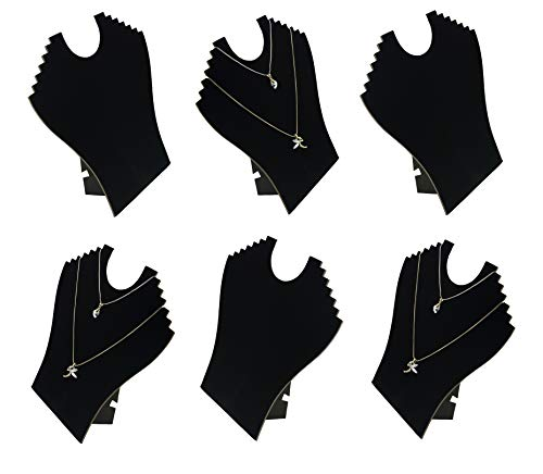 Necklace Chain Pendant Black Velvet 6 Notch Slim Window Display Bust Counter Top Presentation (Number of Busts - 6)