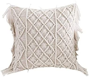 Aashiyana Sajona Cotton Macrame Handmade Knit Floor Cushion Throw Pillow Cover (Large - 16x16 inch, Beige)