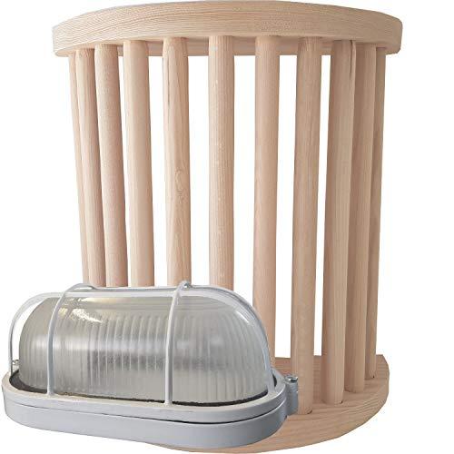 SULENO Saunalampe EMMA mit Saunaleuchte und Anschlusskabel Saunalicht Saunazubehör Starkstrom 400V (Lampenschirm + Fassung)