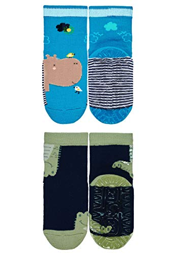 Sterntaler Jungen Fliesen Flitzer AIR Söckchen, Nilpferd-/Krokodil-Motiv, Doppelpack, Alter: 2-3 Jahre, Größe: 23/24, Blau