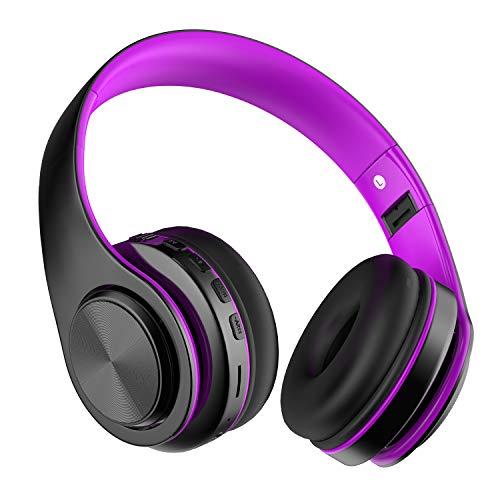 Auriculares Bluetooth Inalambricos de Diadema, Casco Diadema Bluetooth 5.0 Plegables con HiFi Sonido Estéreo, Micrófono Incorporado, Admite Tarjeta TF, FM, para Móvil, PC, TV, Tableta, Morado