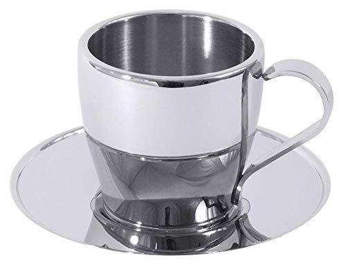 Contacto Edelstahl Mokka-/Espressotasse mit Untertasse 0,08 l (80 ml), doppelwandig, rostfrei, hochglänzend poliert