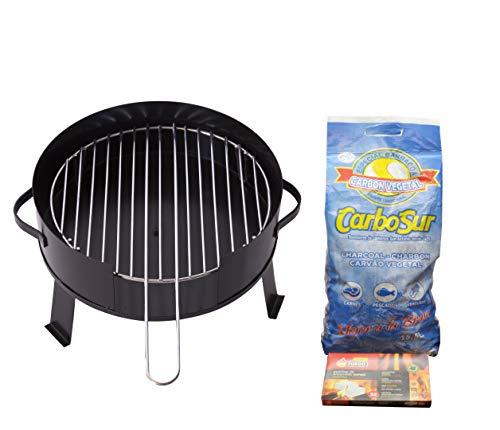 FERRETERIA LEPANTO Barbacoa portátil de Carbón 35cnt Sobremesa saco de Carbón vegetal de 3,1 KG y pastillas de encendido rápido