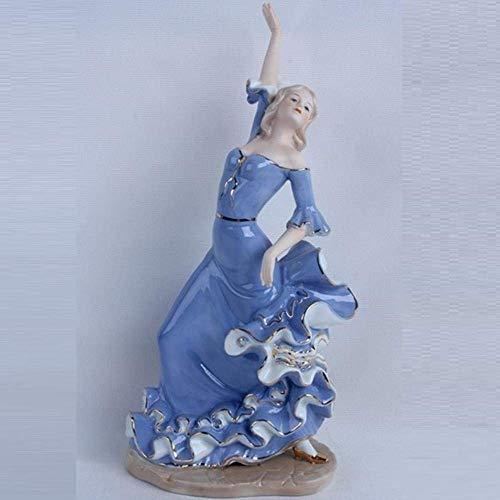 XINGYU Desktop-Dekoration Porzellan Tänzerin Statue Flamenco Figur Figur Keramik Kunst & Handwerk Wohnzimmer Dekor L3201,18X12X36