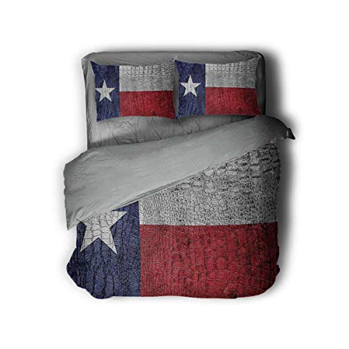 Luoiaax Western Decor Collection Hotel Luxury Bed Linen Texas State Flag Painted on Luxury Crocodile Snake Skin Patriotic Emblem Polyester - Soft and Breathable (Queen) Burgundy Navy White