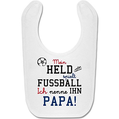 Shirtracer Sprüche Baby - Mein Held spielt Fußball - Unisize - Weiß - fußball-sprüche - BZ12 - Baby Lätzchen Baumwolle