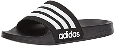 adidas Men's Adilette Shower Slides, Black/White/White, 9