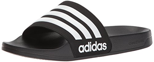 adidas Men's Adilette Shower Slides, Black/White/White, 13