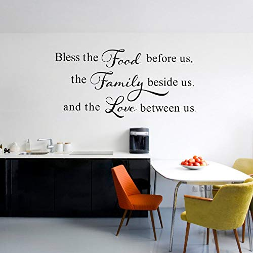 Bless This Food Before Us,The Family Beside Us, and The Love Between Us Wall Decal, Kitchen Dining Room Prayer Sticker, Family Love Positive Quote Thanksgiving Decal