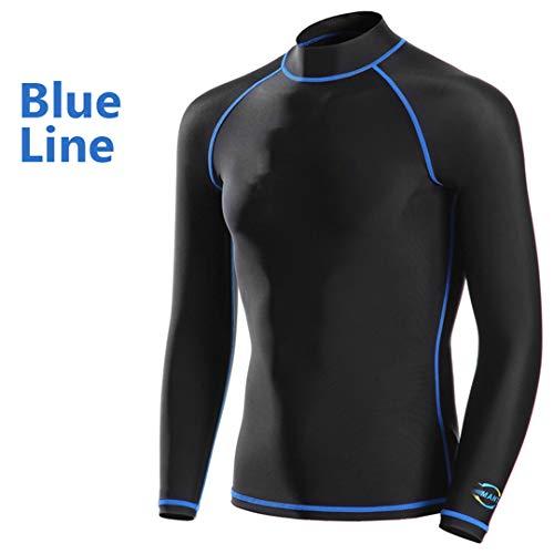 NKJGFV Manches Longues Hommes Body Suits Snorkeling plongée Veste Peau Porter Anti-UV Surfing Vêtements de Sport Blue Line XL