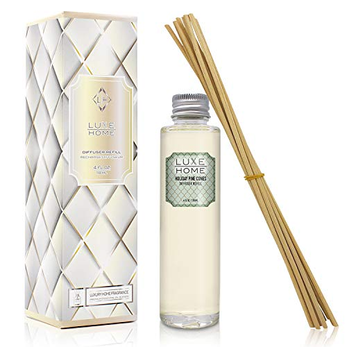 Luxe Home Holiday Pine Cones Reed Reed Diffuser Refill Oil with Sticks | Fresh Pine, Cinnamon Sticks, Clove, Cedarwood, Sandalwood & Vanilla | Liquid Potpourri Alternative