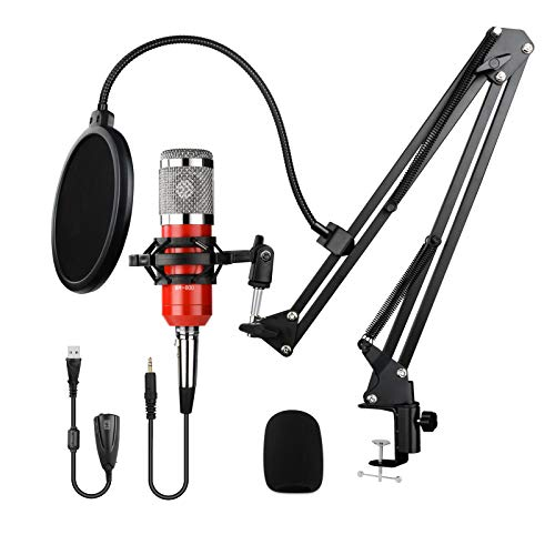 USB Condenser Microphone Kit professional 192KHZ/24BIT Plug & Play with sound card Boom Arm Shock Mount Pop Filter, easy singing for PC Recording Podcasting Karaoke Gaming Streaming YouTube