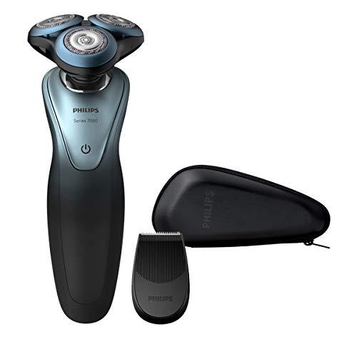 Philips Shaver Series 7000 - Afeitadora (Máquina de Afeitar de rotación, Botones, Inalámbrico, 10 m, GroomTribe, Negro, Poder)