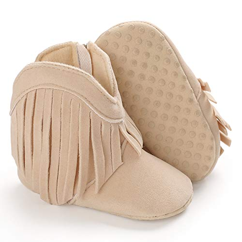 SOFMUO Baby Girls Cowboy Tassel Boots with Side Zipper Moccasins Non Slip Infant Booties Suede Toddler First Walker Shoes(Beige,6-12 Months)