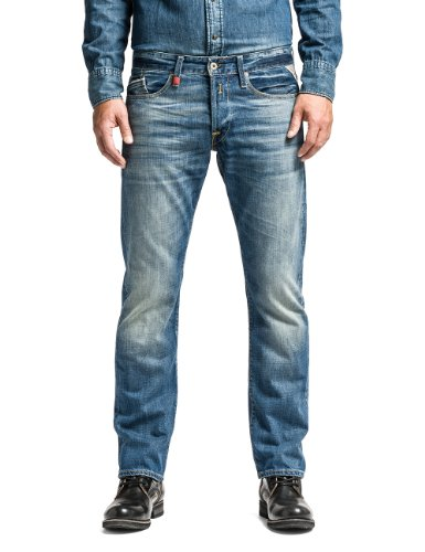 Replay Herren Regular Slim Leg Jeans Waitom, Blau (Blue Denim 009), W38/L36 (Herstellergröße: 38)