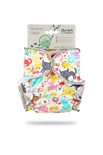 Petit Lulu - Pañal para recién nacidos (bambú, con broche, esponjoso, orgánico, reutilizable y lavable, fabricado en Europa (Cat Meadow)