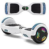 Hoverboard Weiß 6,5 Zoll Selbstbalancierendes Scooter mit Rädern Licht Bluetooth Lautsprecher LED-Leuchten Für Kinder Und Erwachsene