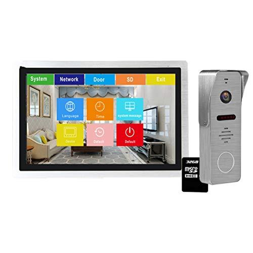 YSAYK Videoportero IP De 10 Pulgadas, Videoportero Wi-fi, Timbre De Puerta, Teléfono, Pantalla Táctil, Sistema De Intercomunicación para El Hogar, Registro Impermeable (Color : with 32GB SD Card)