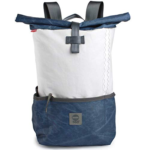 360° Grad Rucksack Lotse aus Segeltuch Unisex mit blauem Balken Segeltuch-tasche; maritim, wetterfest