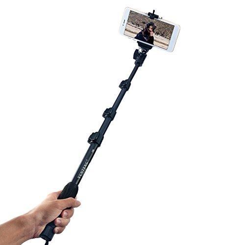 Bastone giunto cardanico stabilizzatore, Hinmay professionale durevole selfie stick selfie monopiede per iPhone, smartphone Android, GoPros, DSLR e fotocamere digitali, allungabile fino a 127cm