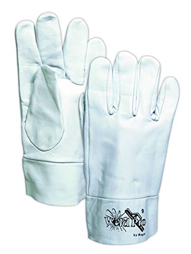 Magid Glove & Safety 1290B-10 Magid WeldPro 1290B Goatskin Tig Welder Glove with 2 Leather Cuff, 8, Gray, 10 (Pack of 12)
