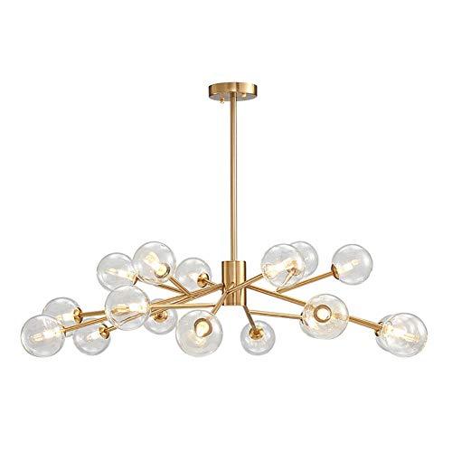 MQJ Lámpara de araña de cristal de 12 luces moderna de oro colgante con globos de vidrio para la industria de la lámpara de techo para sala de estar, comedor, dormitorio, vidrio transparente, 18 luces