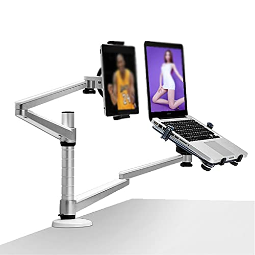 SHYPT Desktop Completo Motion Dual Brazo Laptop + Tablet Ordenador Personal Soporte De Rotación De Soporte para Cuaderno 10-15 Pulgadas Y Todas Las Tabletas PC 7-10 Pulgadas