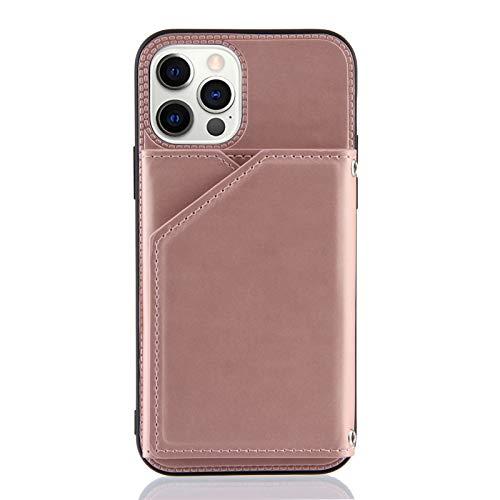 Brieftasche Kreditkartenetui Handyhülle für iPhone 12 Pro (6,1 Zoll) (Roségold)