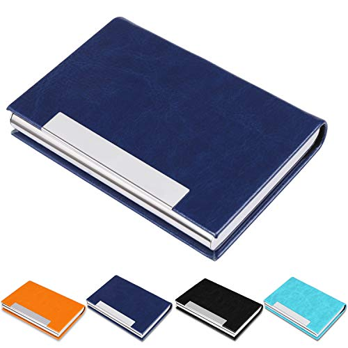 Business Card Holder, Business Card Case, Name Card Holder, Metal Pocket Card Holder, PU Leather Card Case for Women and Men, Magnetic Shut, (Blue-7) S