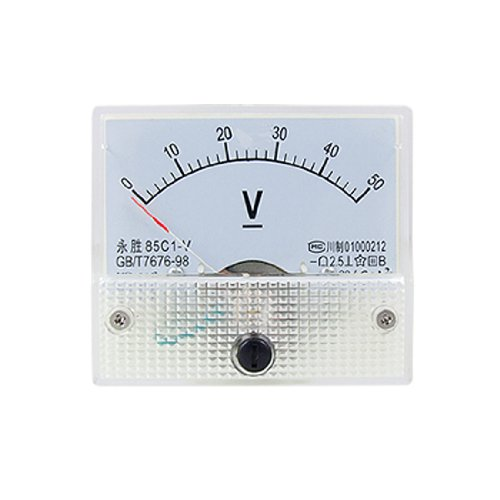 uxcell アナログ電圧計 直流電圧計 ボルトメーター パネルメーターゲージ ホワイト 85C1 DC 0-50V 長方形 アナログボルト