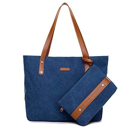 MINGZE Bolso de Lona Bolso Bandolera, Bolso de Lona Bolso Bandolera portátil Lona de Gran Capacidad Bolso de una Mujer Bolsos Vintage (Azul)