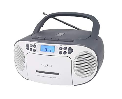Reflexion CD-Player mit Kassette und Radio für Netz- und Batteriebetrieb (PLL UKW-Radio, LCD-Display, AUX-Eingang, Kopfhörer-Anschluss), weiß/grau, RCR2260