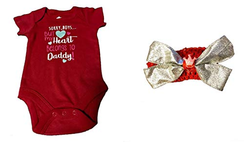 Baby Girls Bodysuit Sorry Boys But My Heart Belongs to Daddy Plus Headband Bow (6-9 Months) Red (Sorry Boys My Heart Belongs To Daddy)