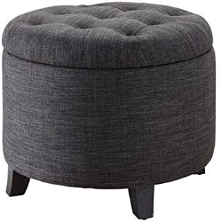 Convenience Concepts Designs4Comfort Round Ottoman, Gray Fabric