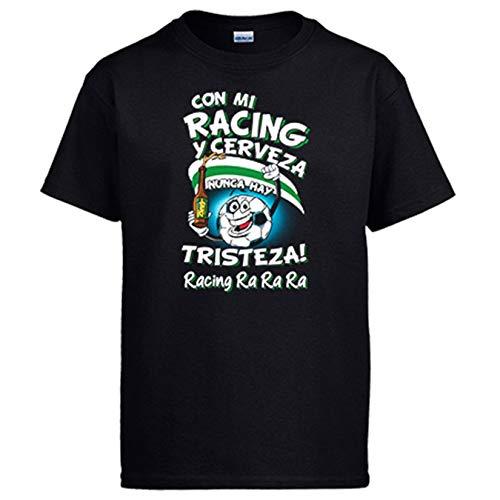 Diver Bebé Camiseta Frase con mi Racing y Cerveza Nunca Hay Tristeza Santander fútbol - Negro, 7-8 años