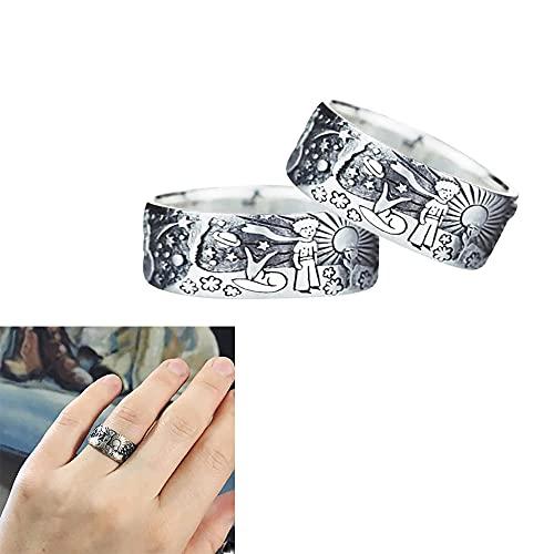 2 Piezas The Little Prince Universe Ring, Little Prince Ring, Little Prince Snowflake Sun Universe Ring, Anillo de Aleación de Cuento de Hadas, Regalo Creativo para Amantes de la Pareja (6)