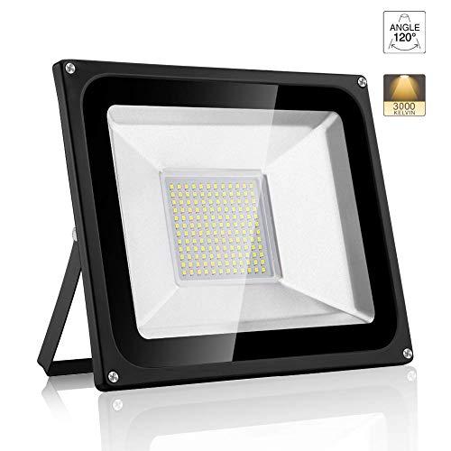 LED Strahler 100 Watt Warmweiß, Superhell 10000LM 3000K Outdoor LED Lights, IP66 Wasserdicht LED Endura Flood Fluter Light [Energieklasse A++]
