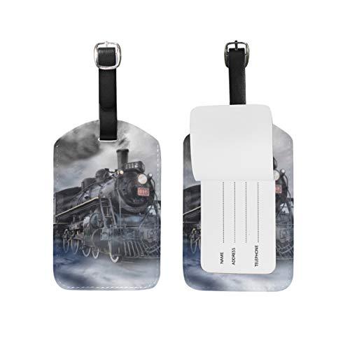 Etichetta per bagagli per bagagli Valigia Motore a vapore Treno Borsa da viaggio in pelle nebbiosa Etichette per indirizzo 1 pezzo